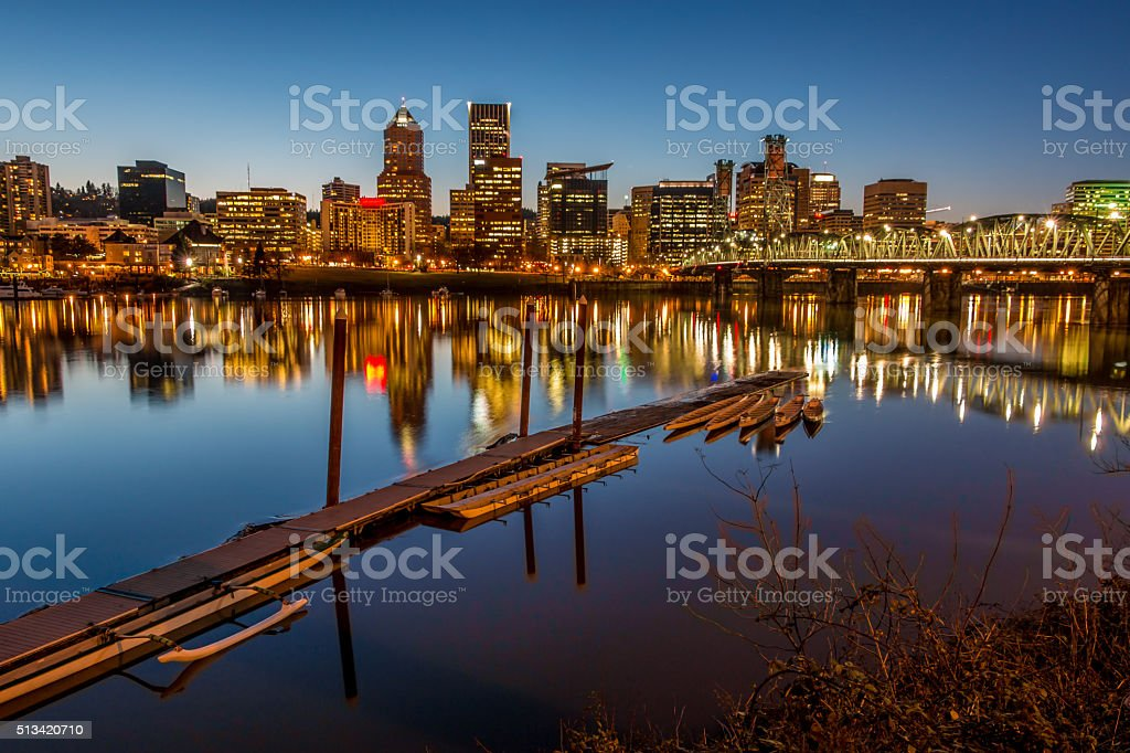 Illuminated Cityscape  Reflections Portland Oregon Skyline Willamette River Boat Dock stock photo
