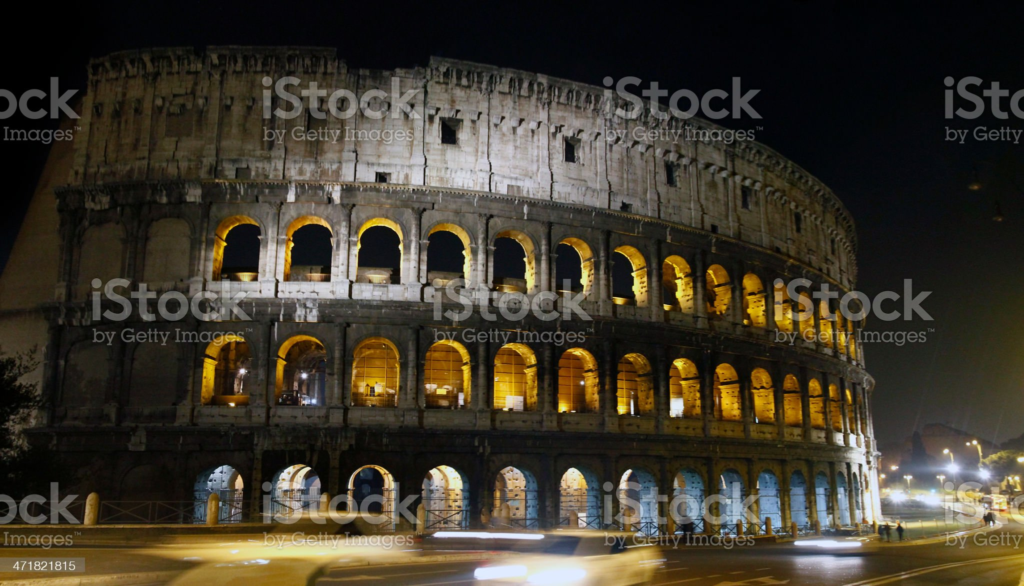 Illuminated Coliseum in Rome, Italy royalty-free stock photo