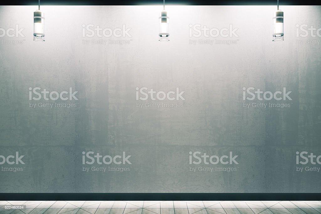 Illuminated concrete wall stock photo