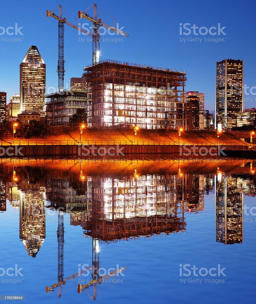 Illuminated Construction Building at Sunset royalty-free stock photo