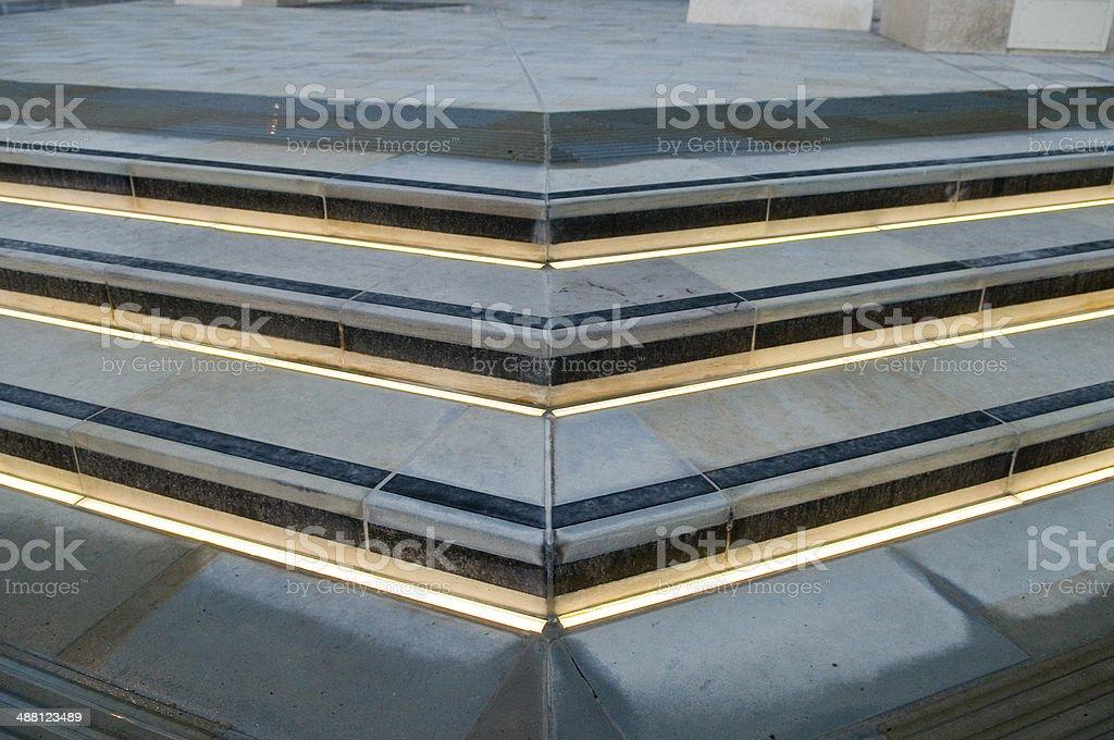 Illuminated corner steps stock photo