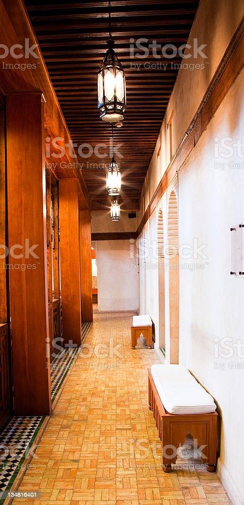 Illuminated corridor stock photo