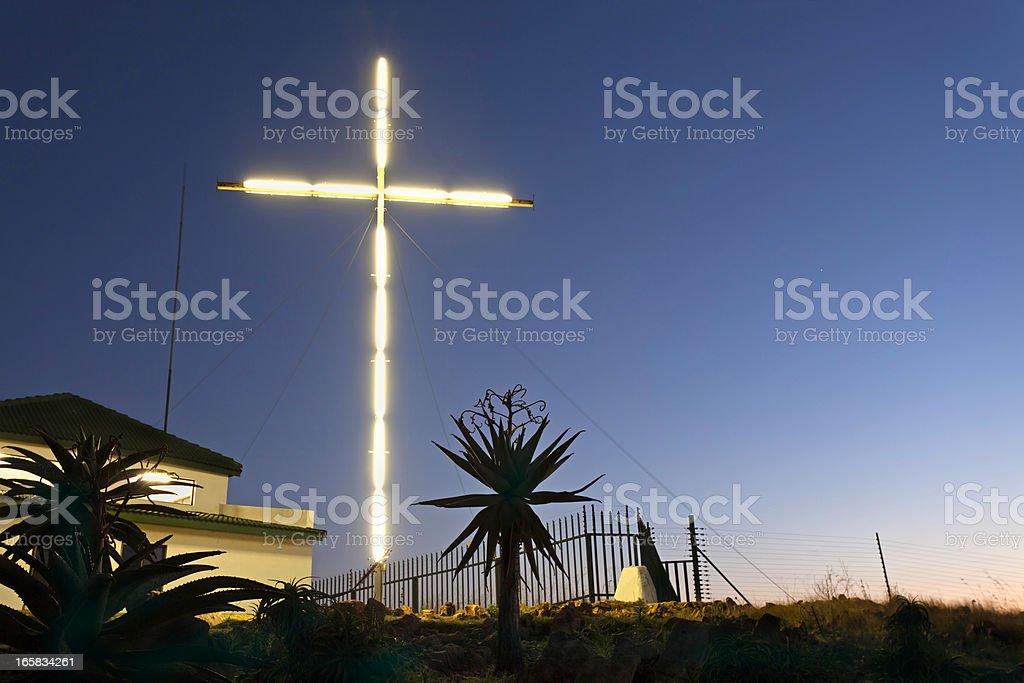 Illuminated Cross on a Hill stock photo
