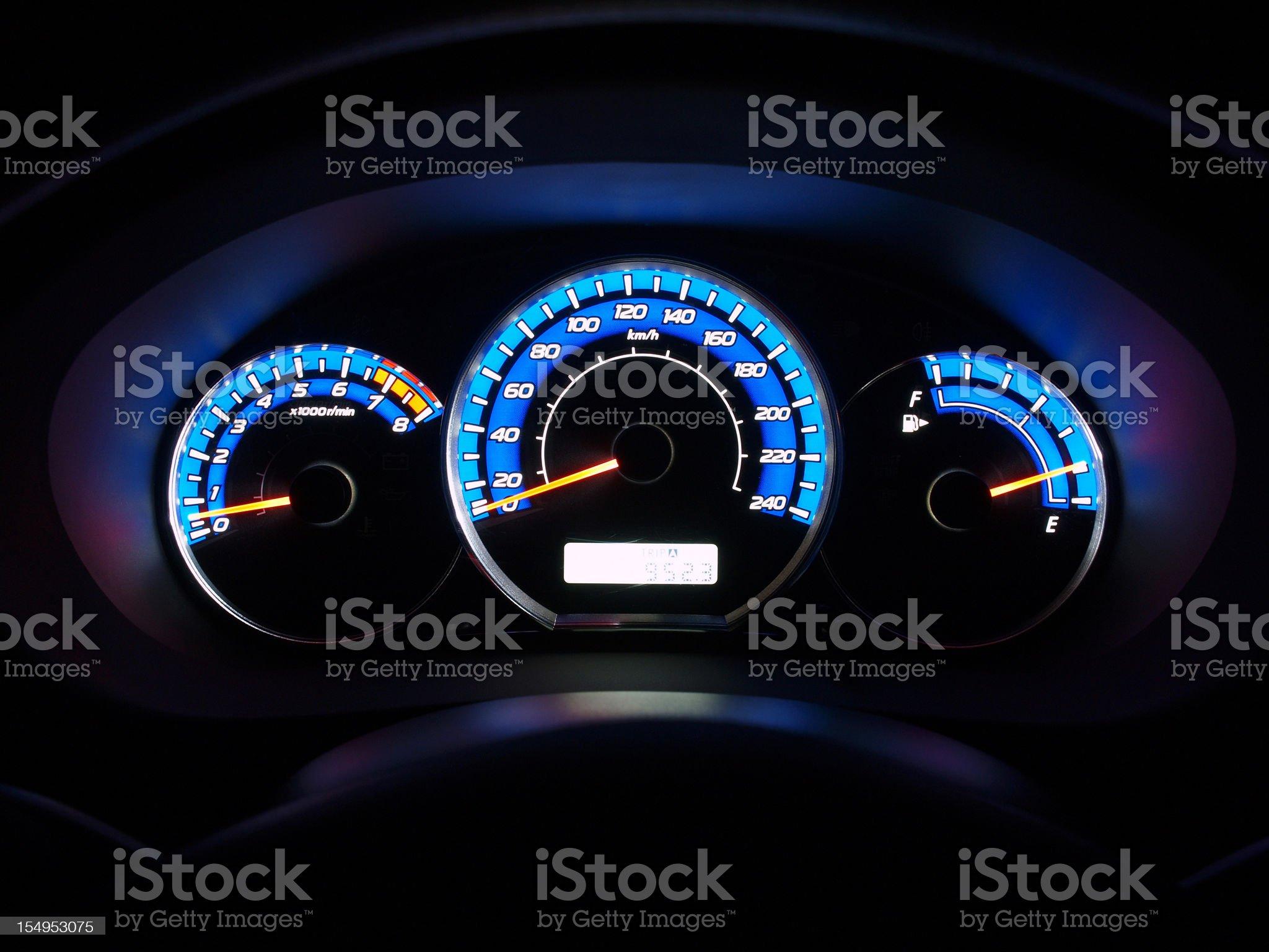 Illuminated dashboard from a nice car royalty-free stock photo