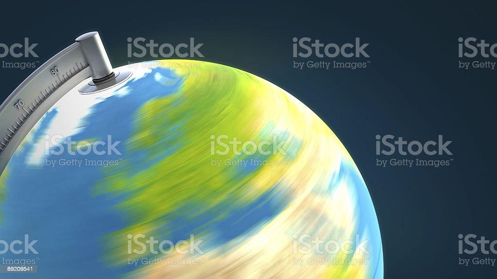 3D illuminated desktop globe: close up stock photo