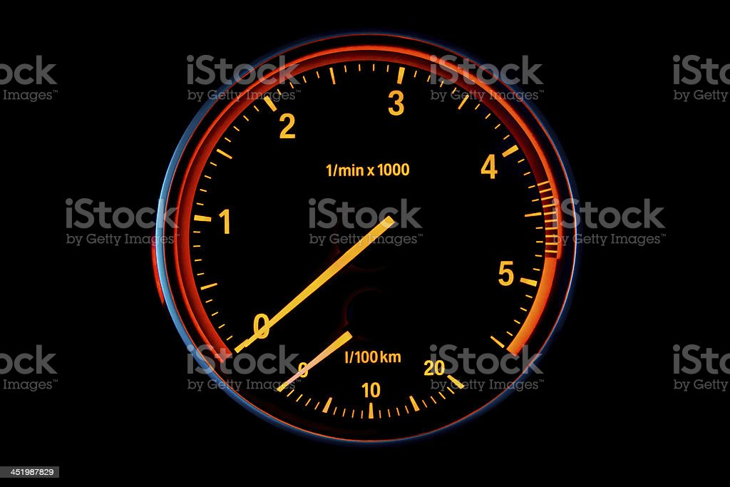 Illuminated diesel car tachometer stock photo