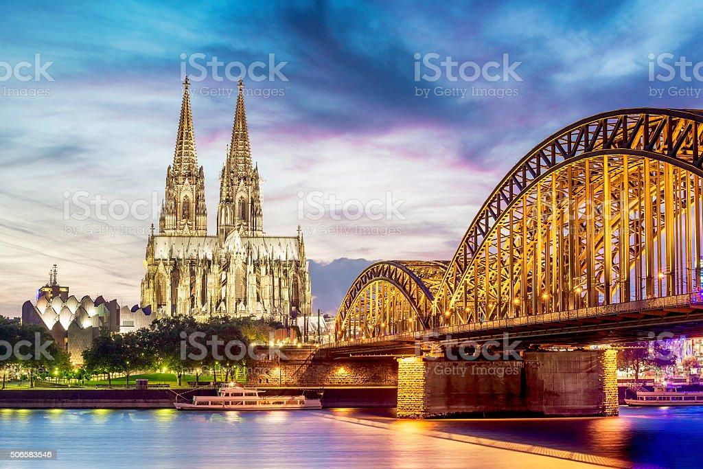 Illuminated Dom in Cologne stock photo