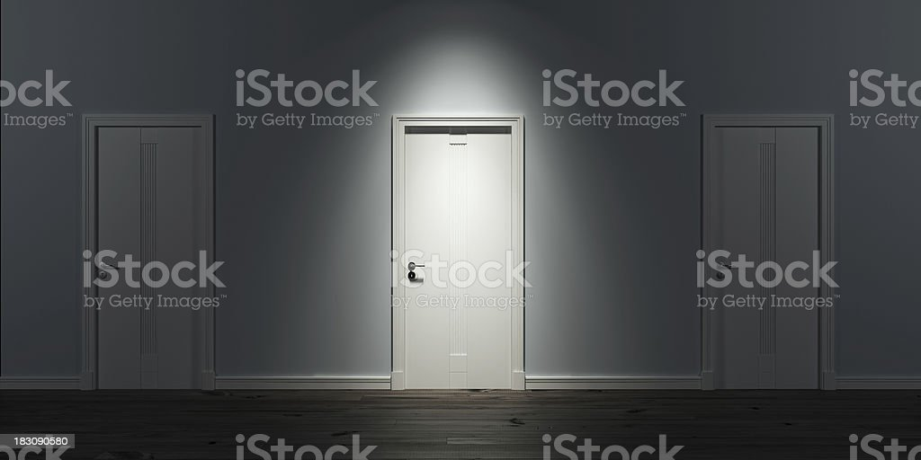Illuminated door in row royalty-free stock photo