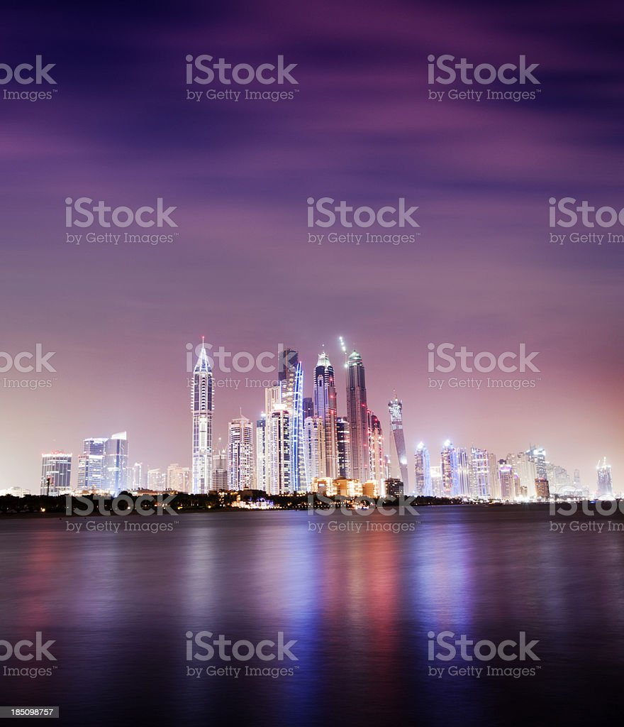 Illuminated Dubai Marina at Night United Arab Emirates royalty-free stock photo