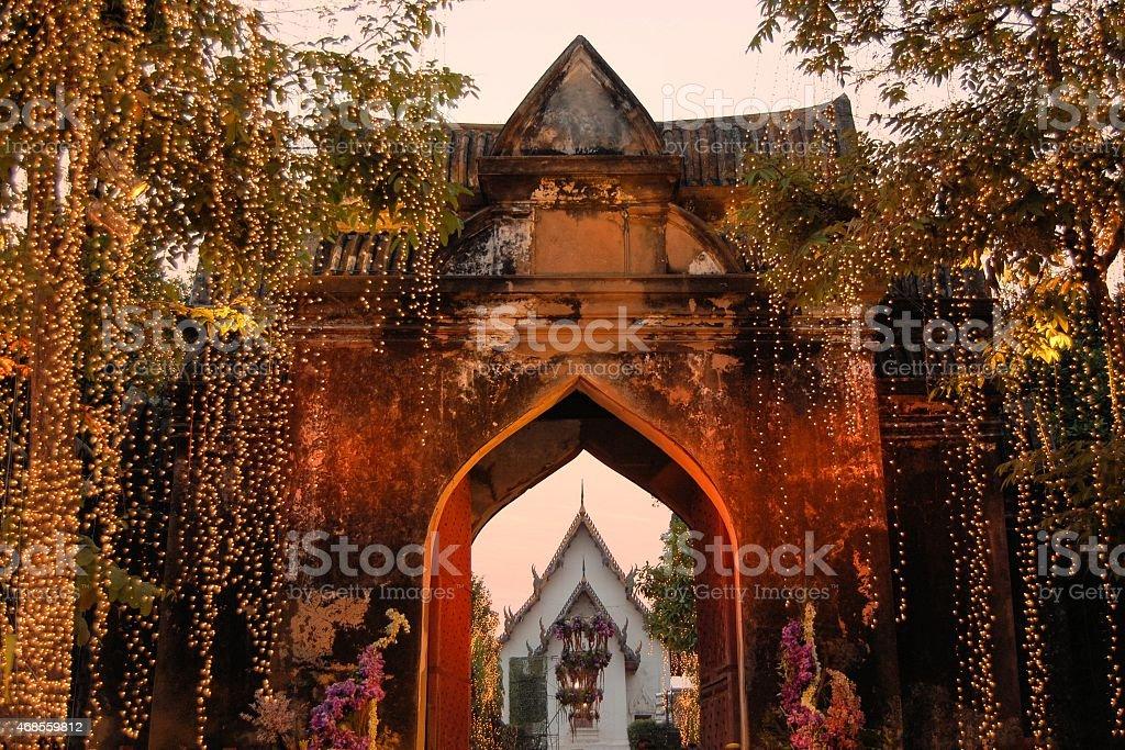 Illuminated Entrance to Royal Palace, Lopburi, Thailand stock photo