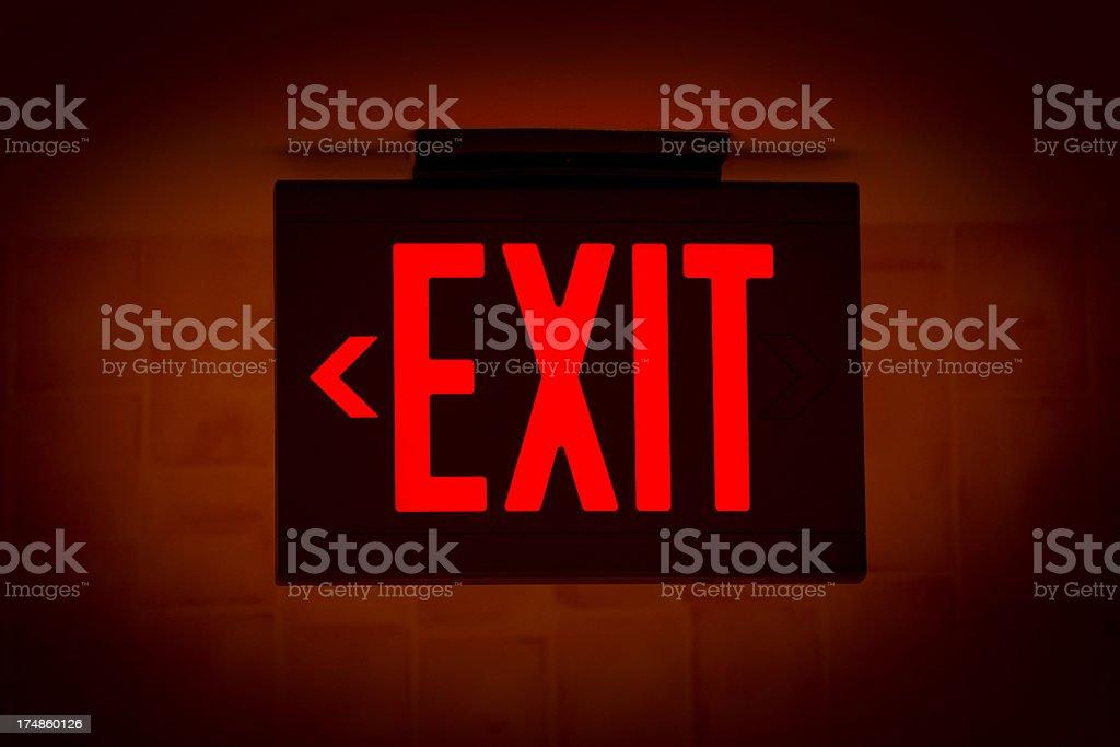 Illuminated Exit Sign stock photo