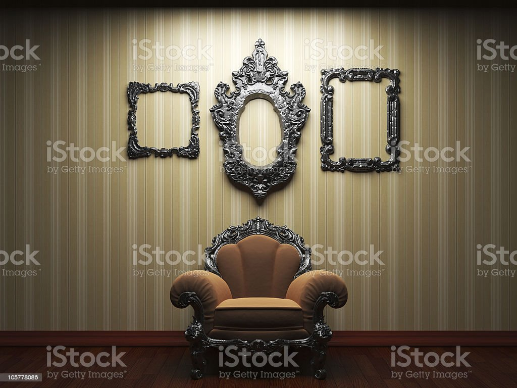 illuminated fabric wallpaper and chair royalty-free stock photo