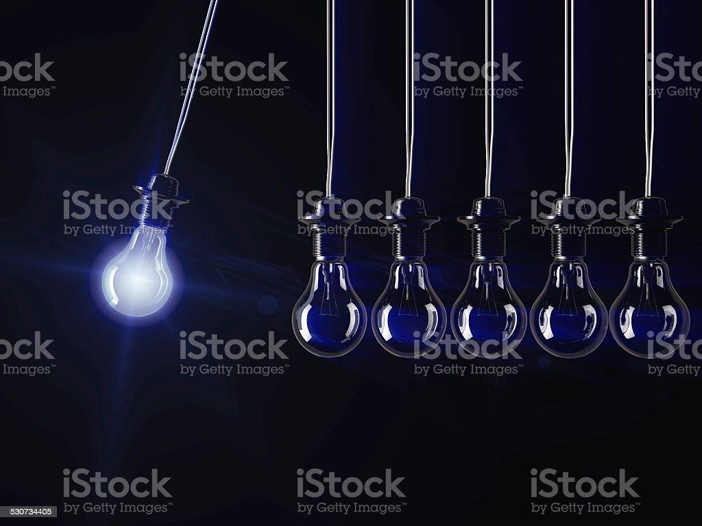 illuminated fluorescent light bulb stock photo
