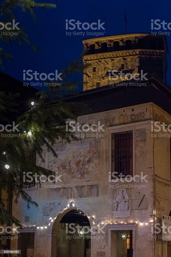 illuminated frescoes stock photo