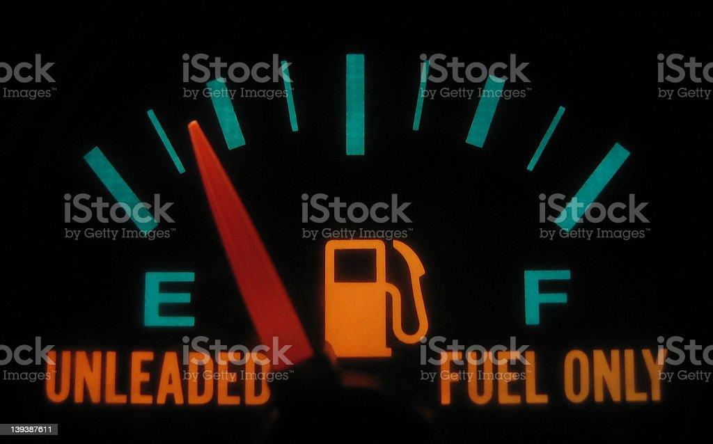 Illuminated Fuel Gage stock photo