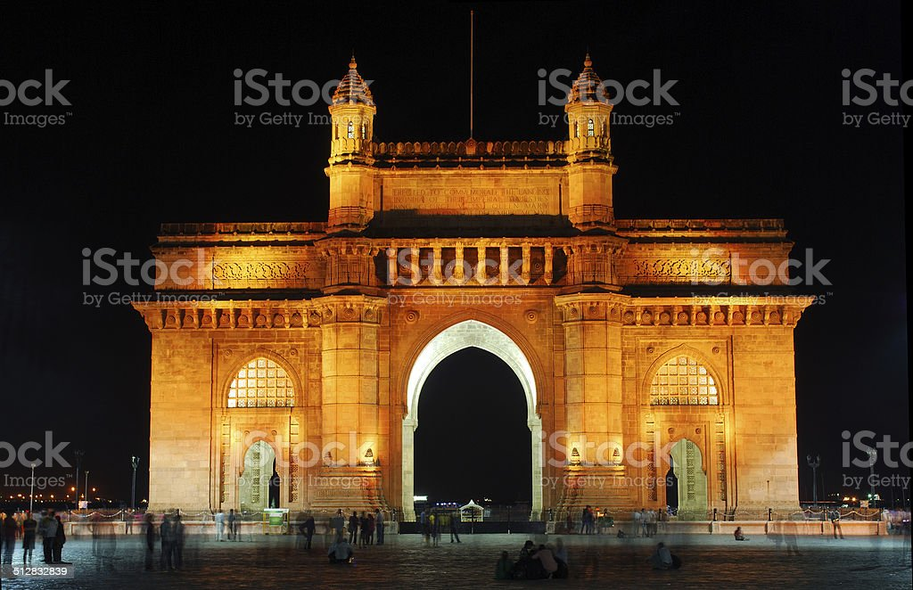 Illuminated Gateway of India, Mumbai stock photo