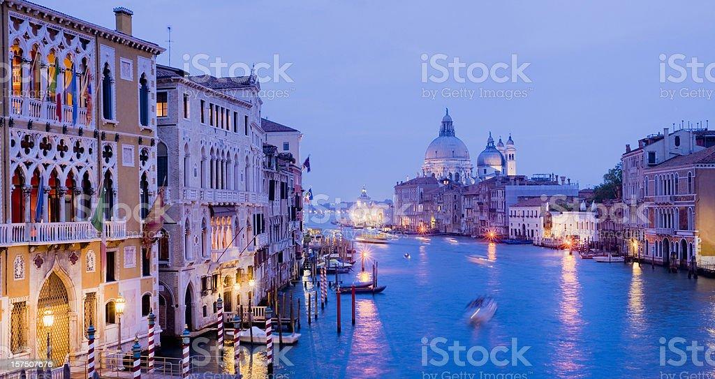 Illuminated Grand Canal at Night in Venice Italy royalty-free stock photo