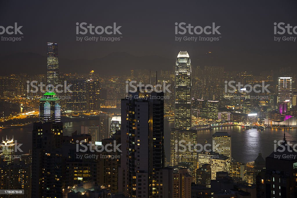Illuminated Hong Kong skyline from Victoria's Peak at night royalty-free stock photo