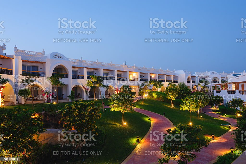 Illuminated hotel path stock photo
