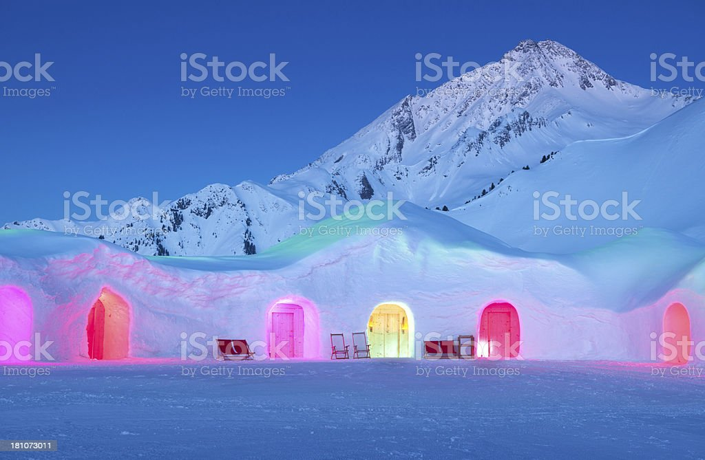 Illuminated Igloos at Night stock photo