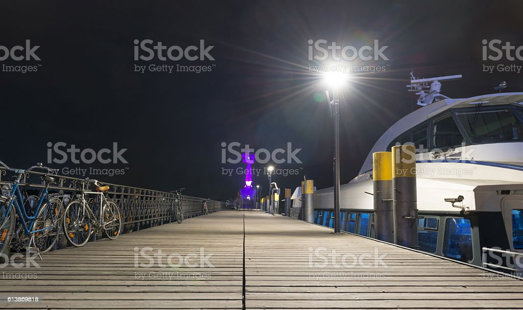Illuminated Imperia Constance at Lake Constance stock photo
