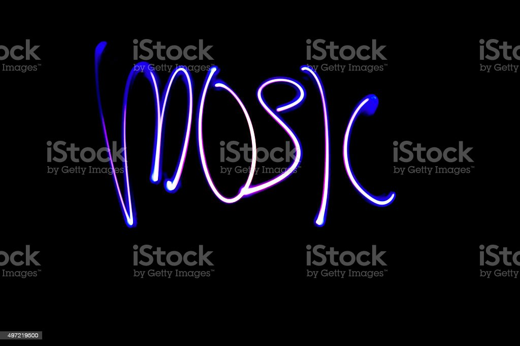 Illuminated Inscription Music, Background, Space For Text stock photo
