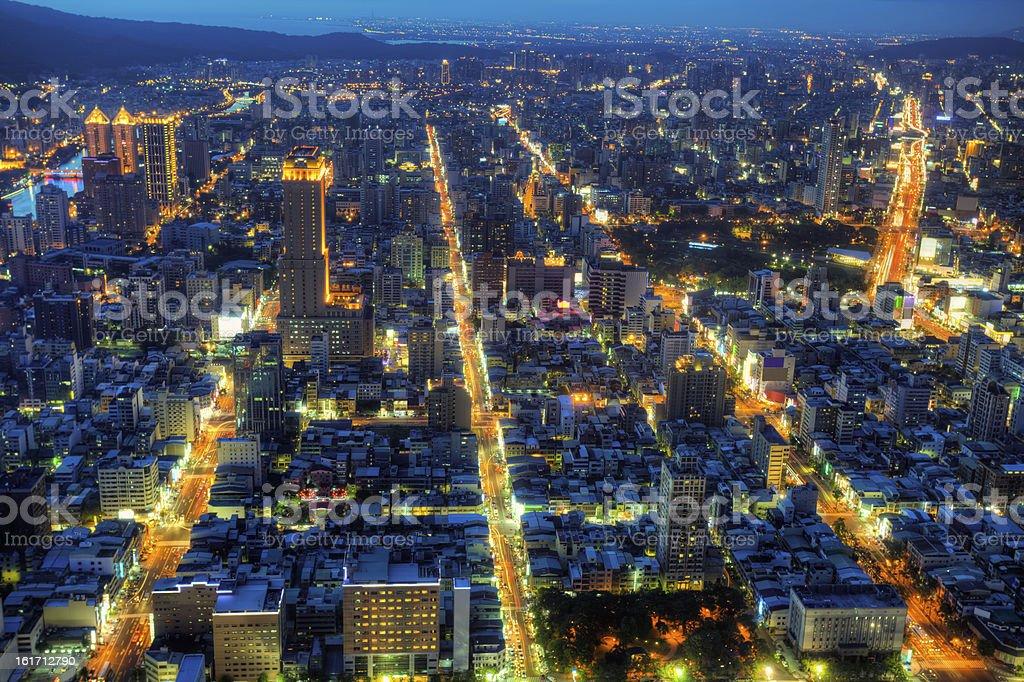 Illuminated Kaohsiung city night skyline  (Republic of China)  Taiwan cityscape stock photo