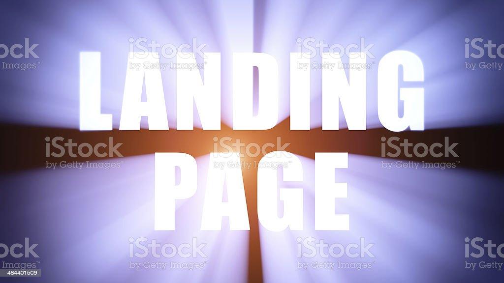 Illuminated LANDING PAGE stock photo