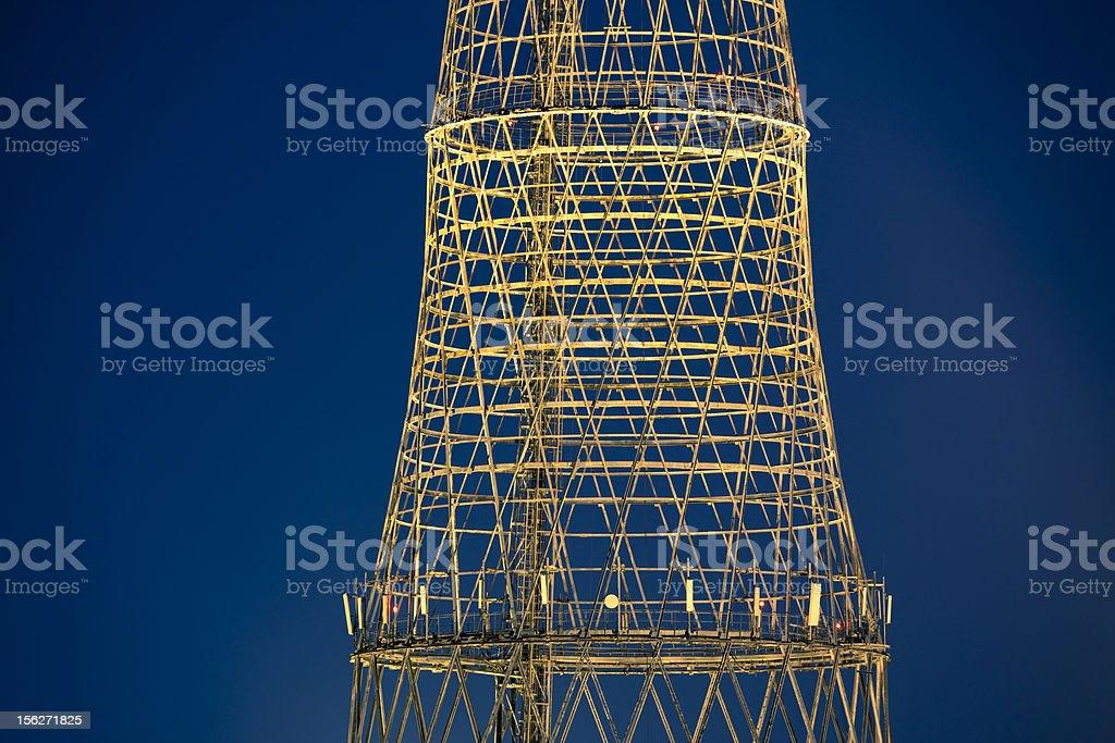 Illuminated lattice of Shukhov communication tower stock photo