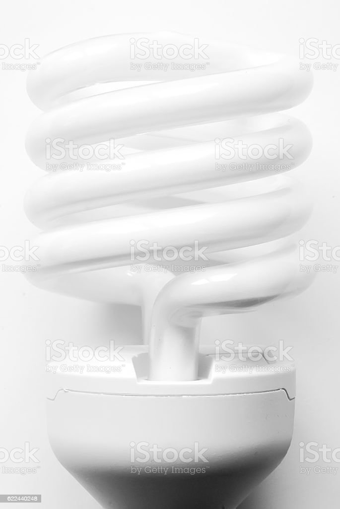 Illuminated light bulb, energy saving bulb stock photo