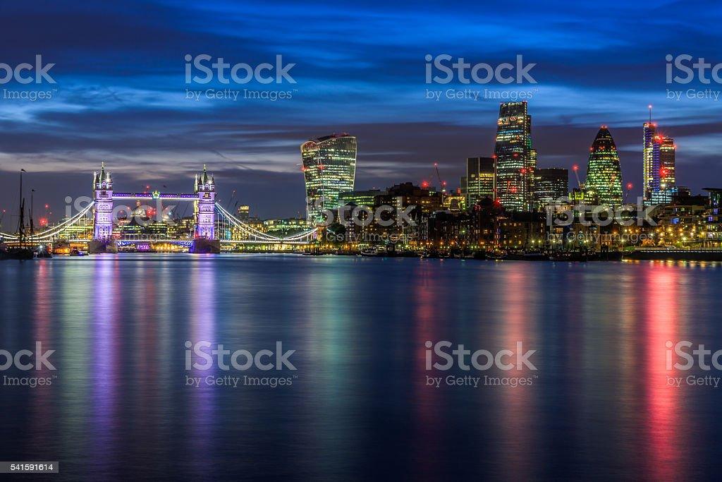 Illuminated London Cityscape During Sunset stock photo