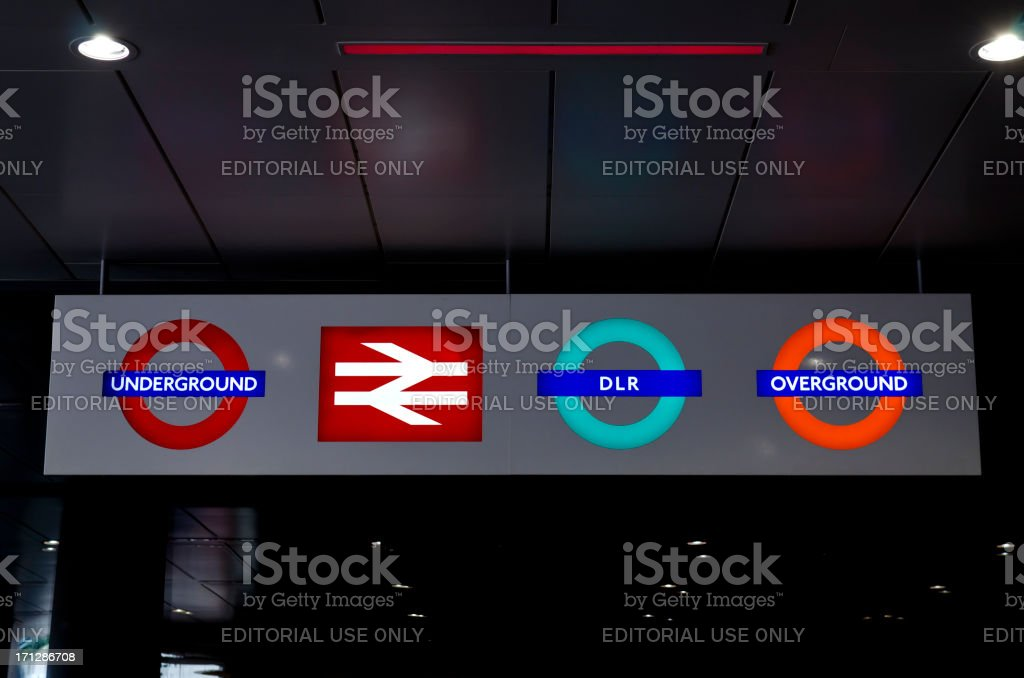 Illuminated London Transport sign stock photo