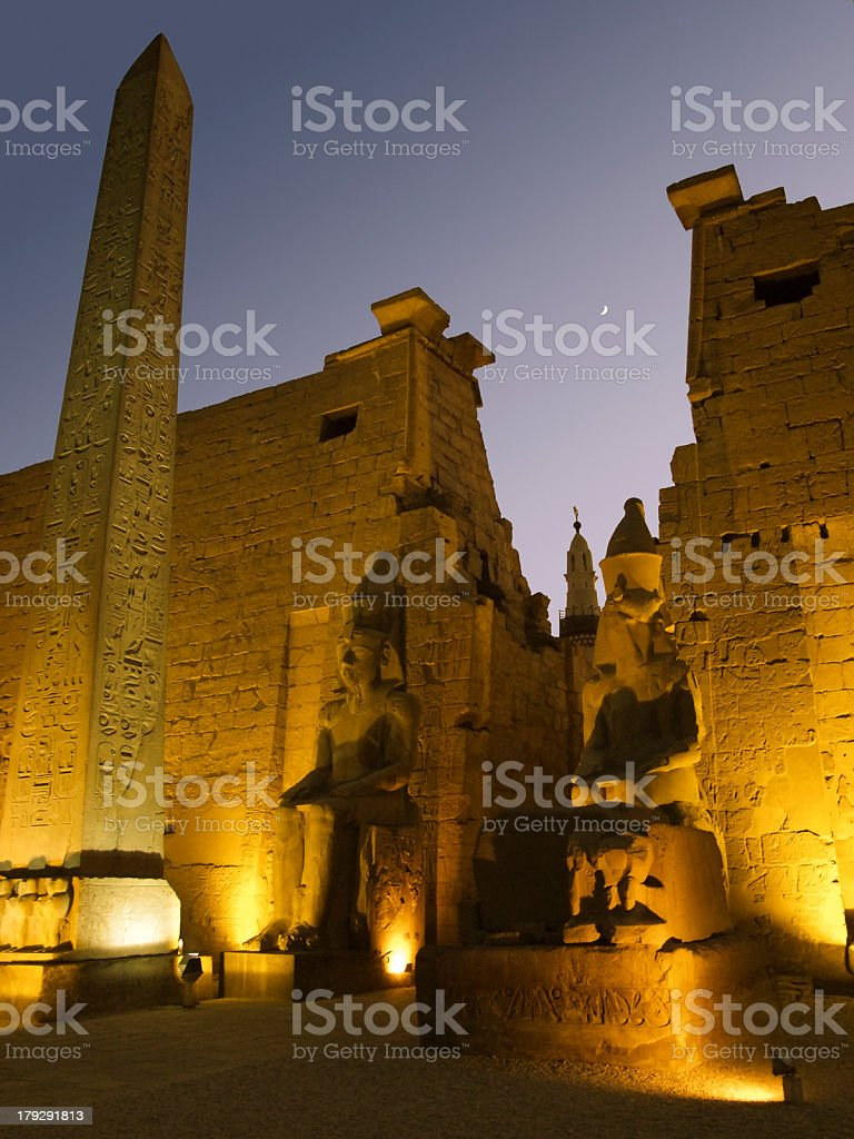 illuminated Luxor Temple at night royalty-free stock photo