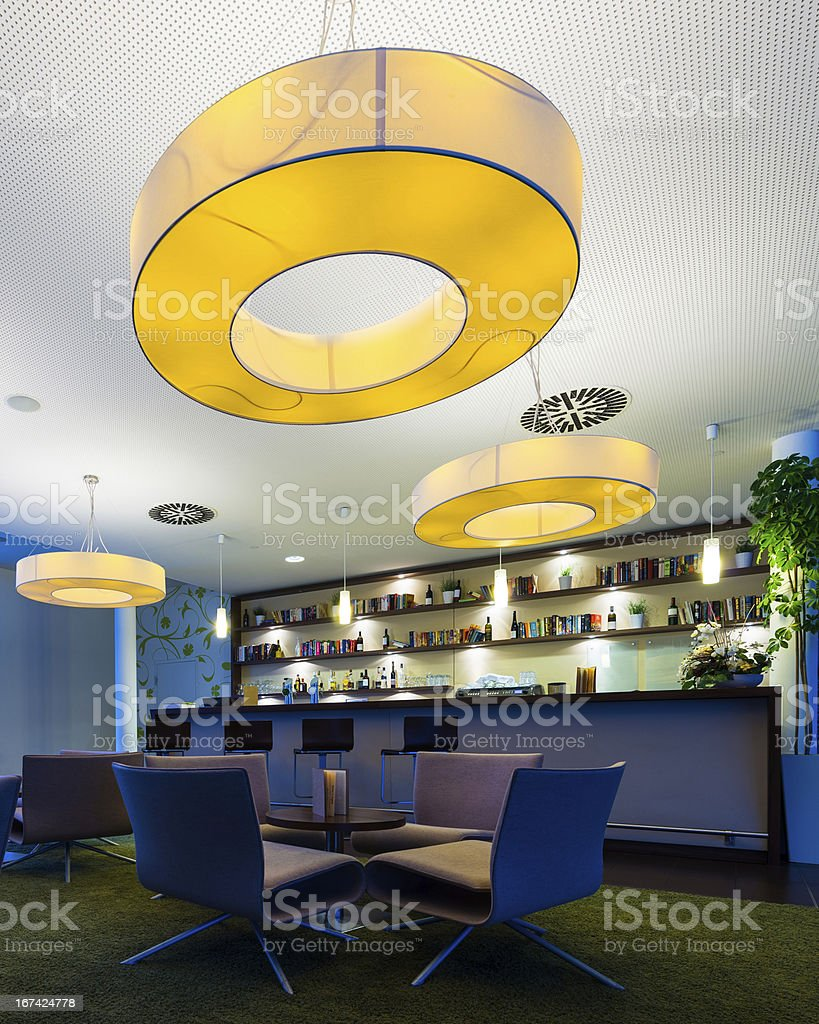 illuminated modern hotel bar royalty-free stock photo