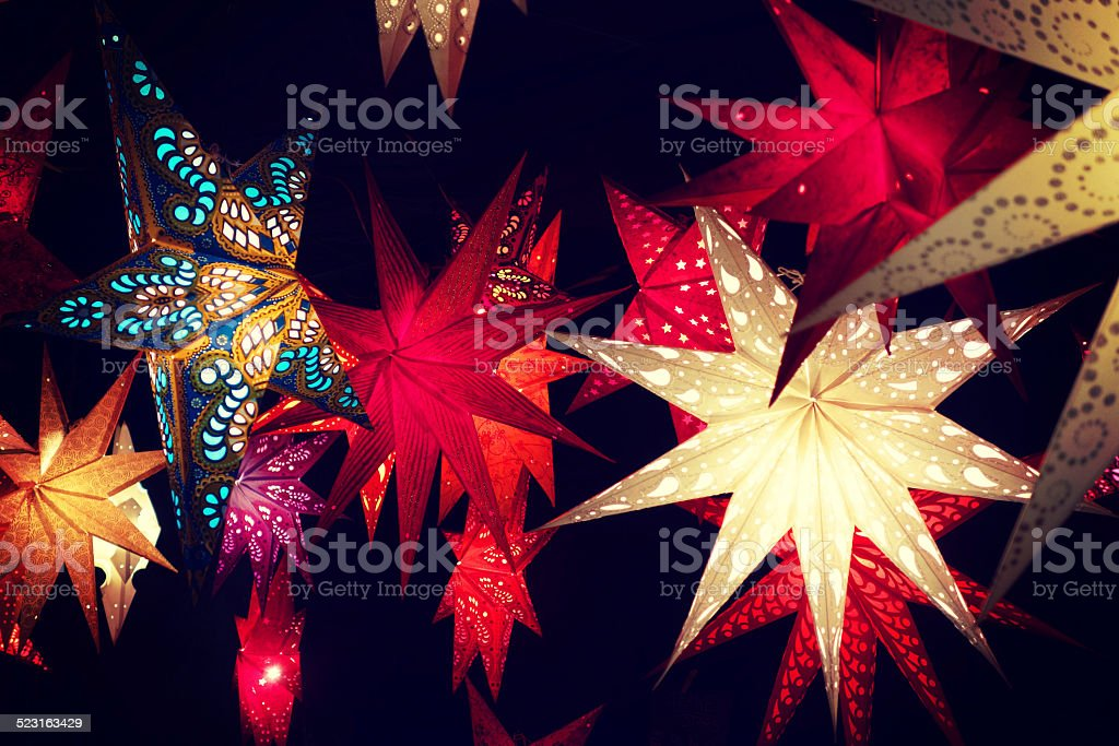 Illuminated moravian Christmas stars in amazing colors stock photo
