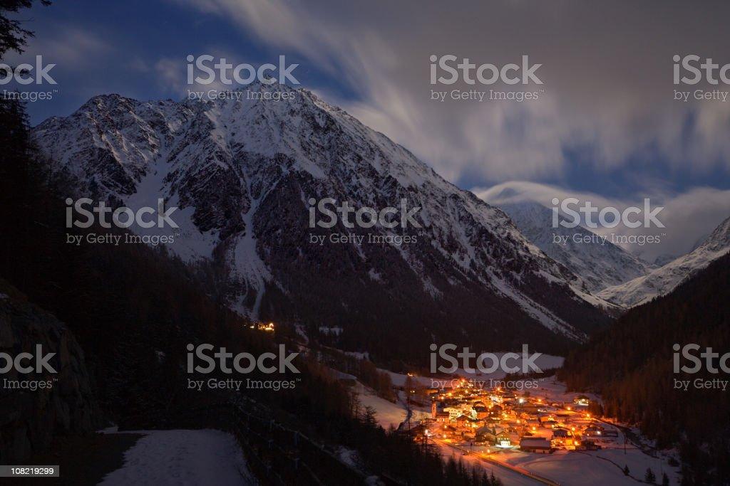 Illuminated Mountain Village stock photo