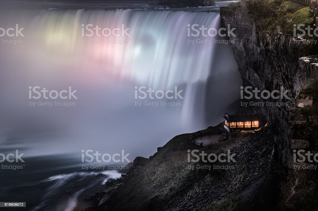 Illuminated Niagara Falls at night - Canada - North America stock photo