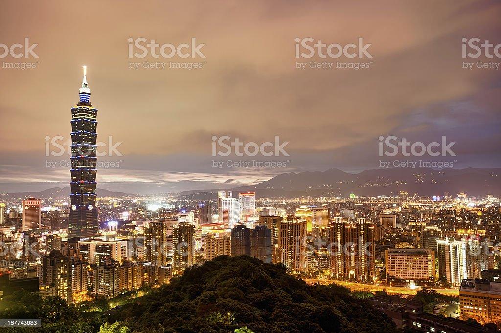 Illuminated night city skyline of Taipei, Taiwan, China stock photo