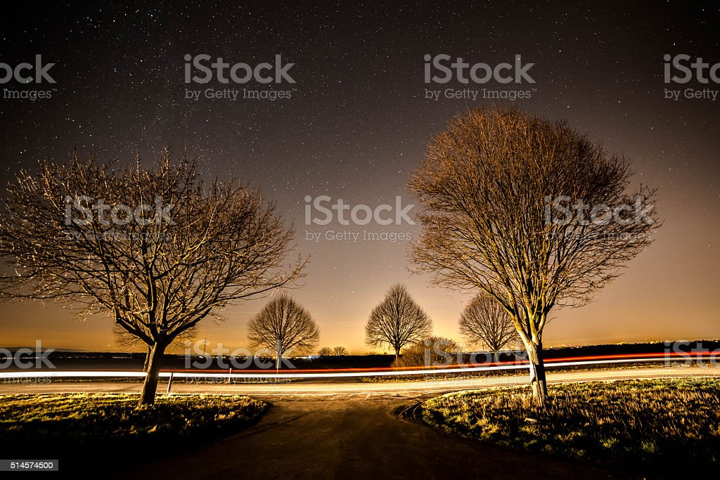 Illuminated night sky stock photo