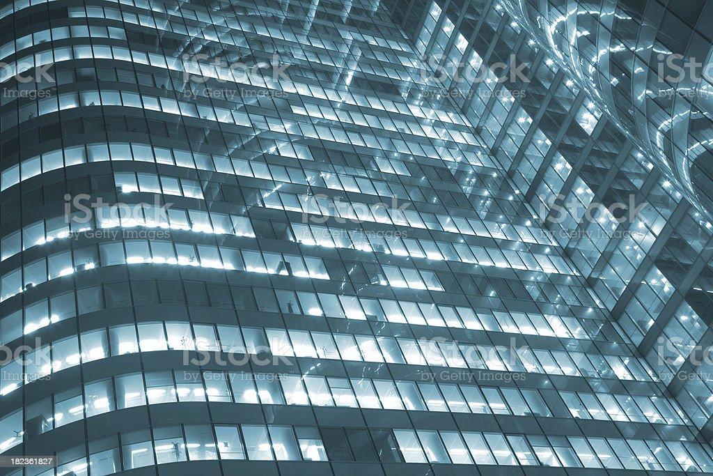 Illuminated Office Building at Night royalty-free stock photo