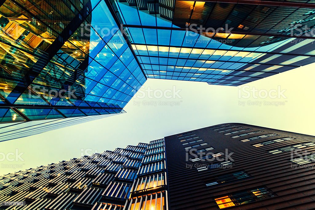 Illuminated Office Building in London stock photo