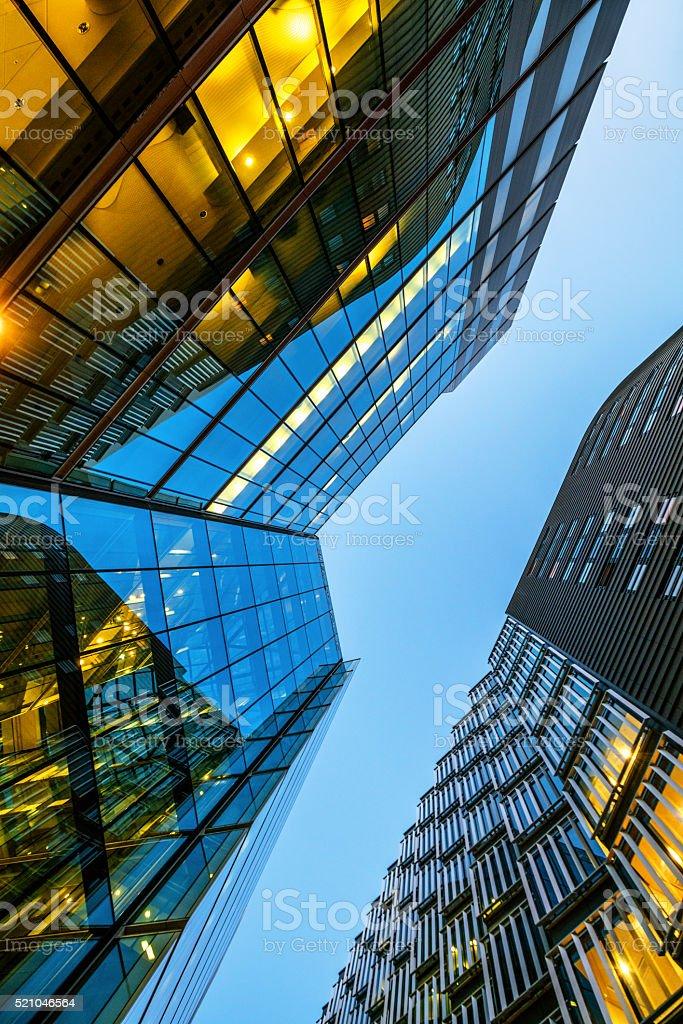 Illuminated Office Building in London, UK stock photo
