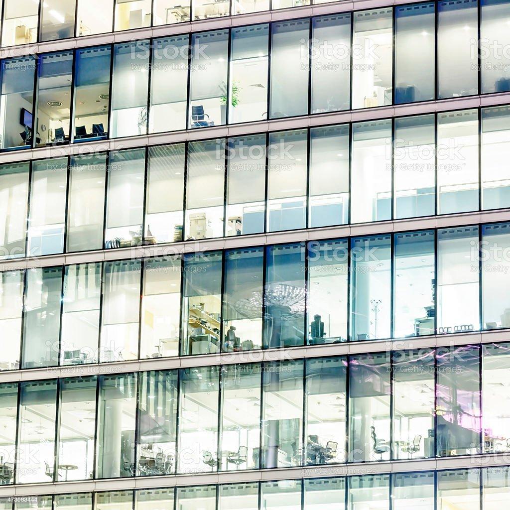 Illuminated office buildings in London stock photo