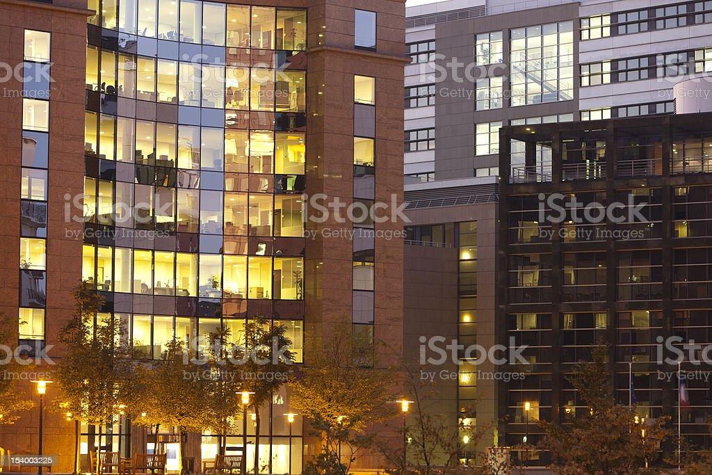 Illuminated Office Buildings royalty-free stock photo