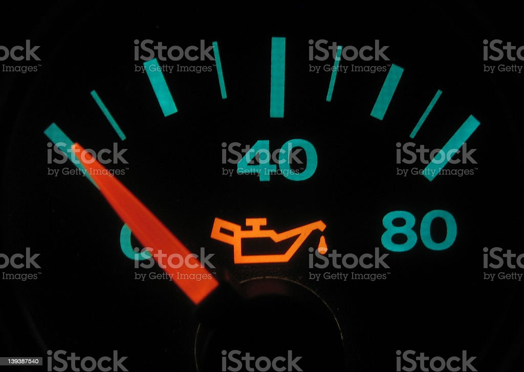 Illuminated Oil Pressure Meter #2 royalty-free stock photo