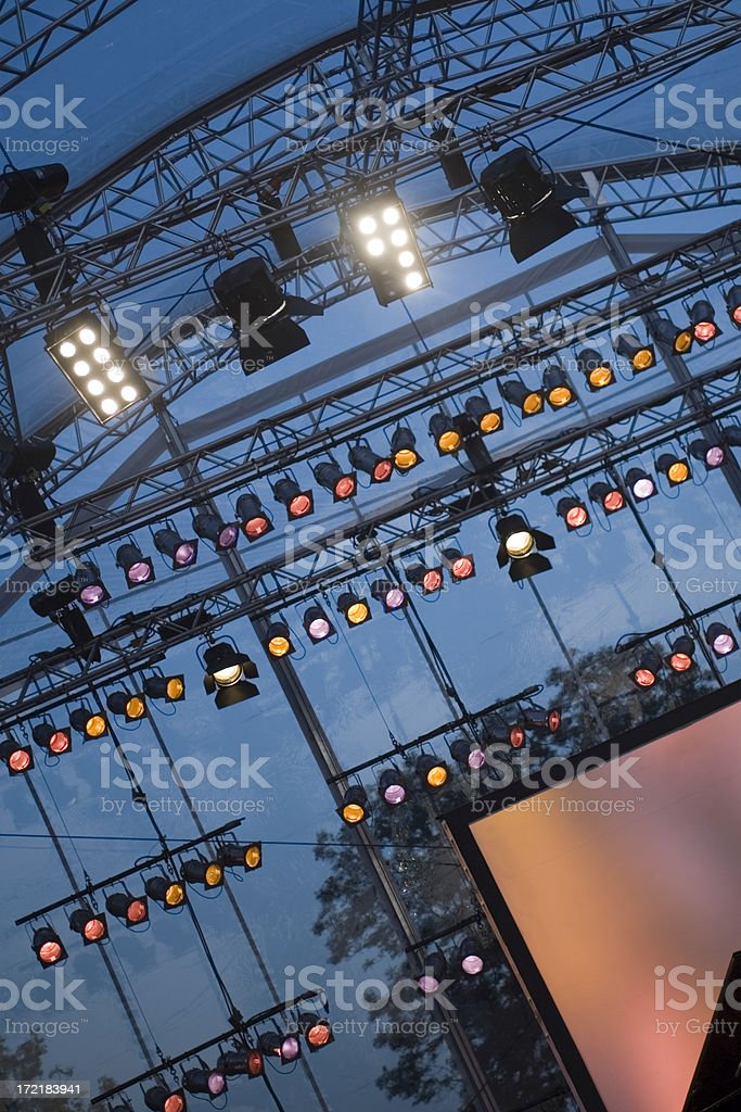 illuminated open air concert stage royalty-free stock photo