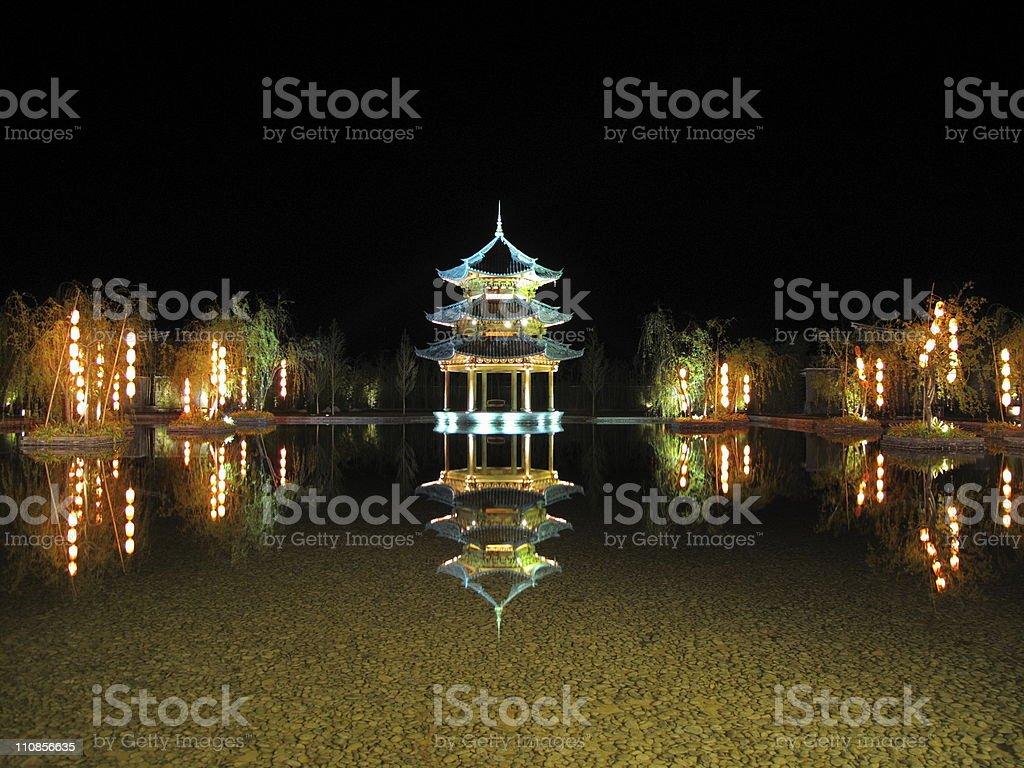 illuminated pagoda, pavilion, gazebo with red lampions at night royalty-free stock photo