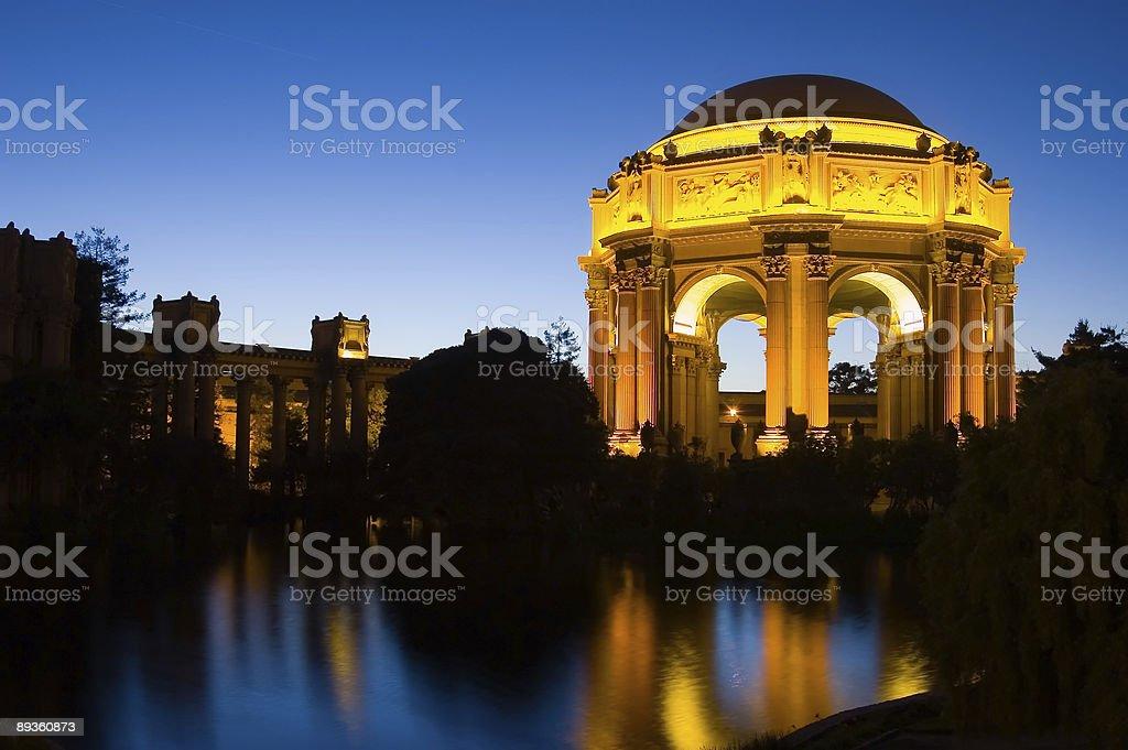 Illuminated palace of fine arts at dusk royalty-free stock photo