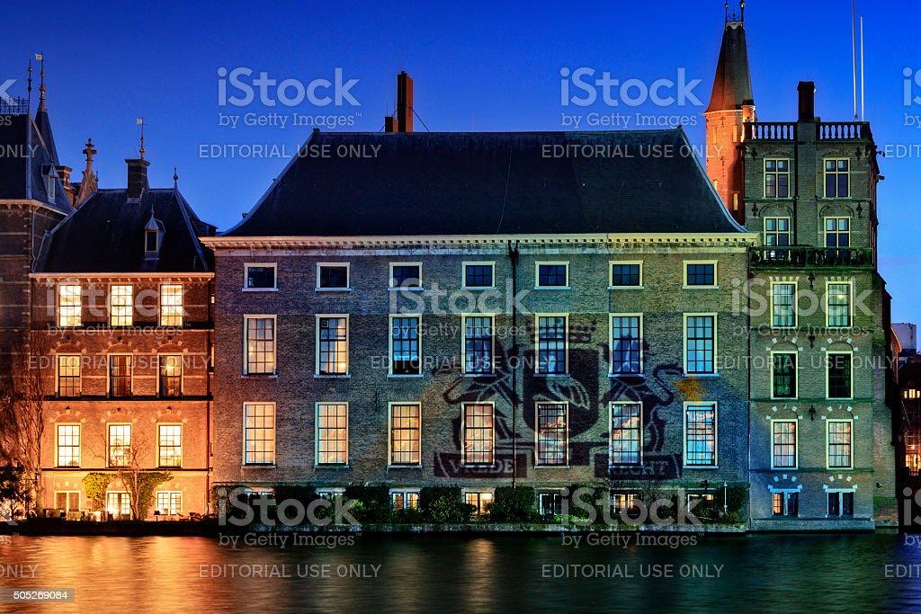 illuminated parliament buildings in The Hague stock photo