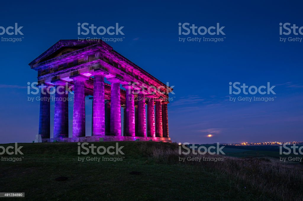 Illuminated Penshaw Monument at Night stock photo